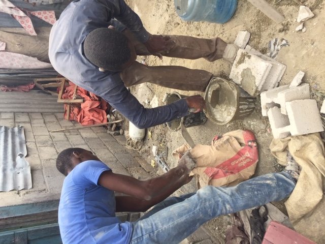 Mixing Mortar in Batey